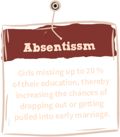 Absenteeism from  school - due to lack of  reusable sanitary pads